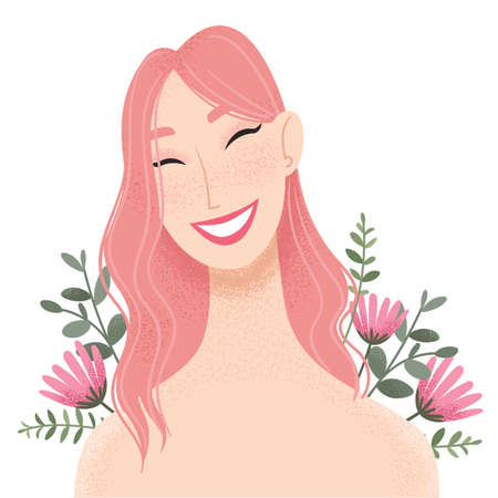 Beauty female portrait decorated with pink flowers. Smiling young Asian woman avatar. Girl with pink hair. Vector illustration Ilustracja