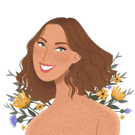 Beauty female portrait decorated with flowers. Elegant woman avatar with floral background. Vector illustration Ilustracja