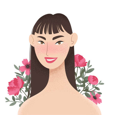 Beauty female portrait decorated with pink peonies flowers. Elegant Asian woman avatar with floral background. Vector illustration Ilustracja