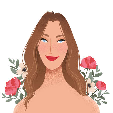Beauty female portrait decorated with flowers. Elegant woman avatar with floral background. Vector illustration Zdjęcie Seryjne