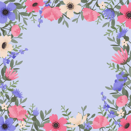 Floral background design with summer flowers. Greeting card with place for text. Template for invitation card with beautiful peonies and anemone flowers. Vector illustration