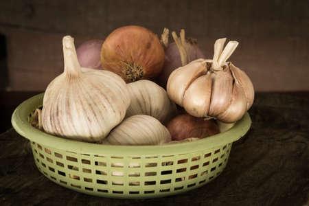garlics: Garlics in a basket