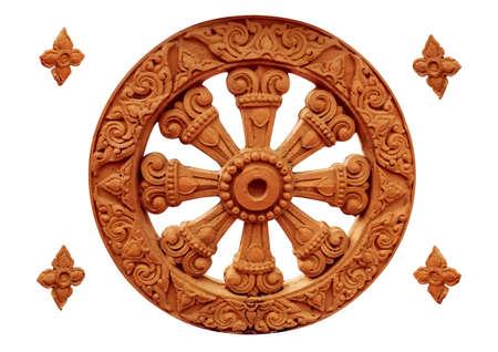 vintage ancient buddhist symbol isolated on white background.