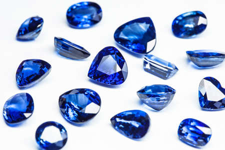 group of blue sapphires with white background photo