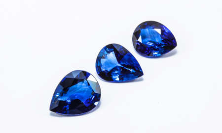 the blue sapphires on white background photo