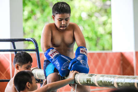 boxing day: pool boxing kid at school on children day in Thailand Editorial