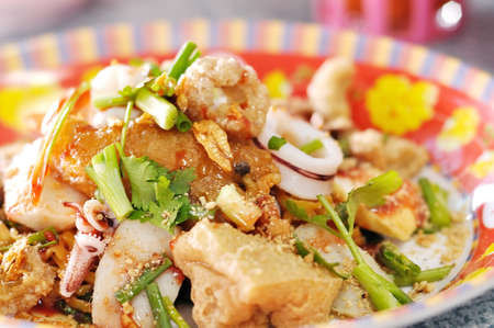Fried seafood noodles photo