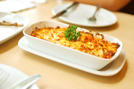 fresh baked: A picture of Baked Spaghetti Cheesy Shrimp Stock Photo