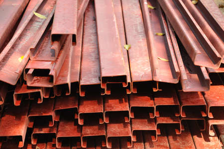 Industrial Produced Pile of Steel Pipes Closeup photo