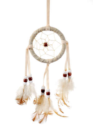 legends folklore: Authentic Native American dreamcatcher. Isolated in white
