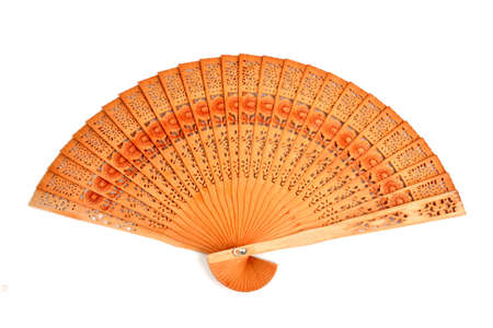 wood chinese fan on a white background photo