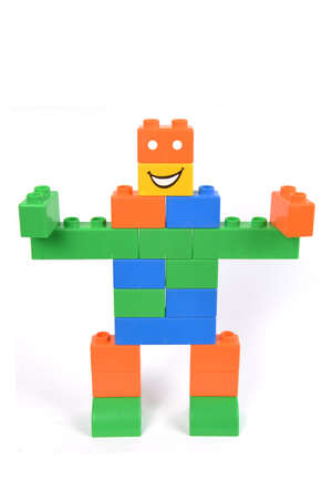 A children building blocks toy stacked as a robot Stock Photo - 16885795