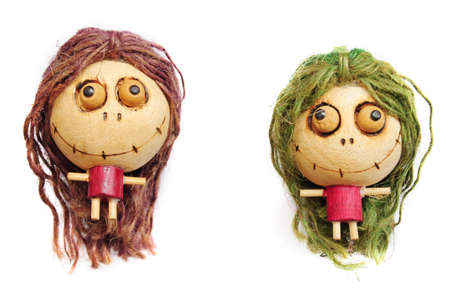 Wooden doll using a hair rope