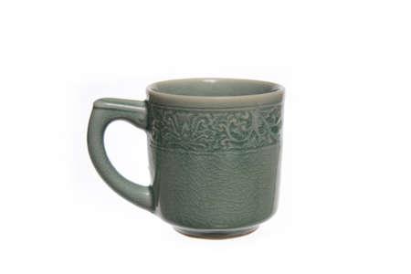 celadon green: Ceramic coffee mug   Stock Photo