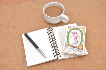 psychic reading: Tarot cards - The World , on book