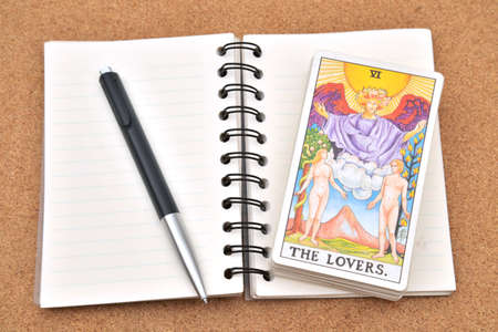 Tarot cards - The Lover , on book