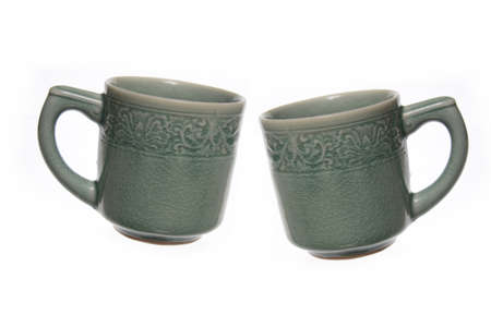 crazing: Ceramic coffee mug.
