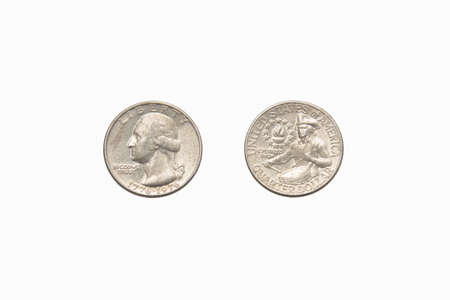 25 cents: Both sides of an old (1966) US quarter, isolated on a white background.