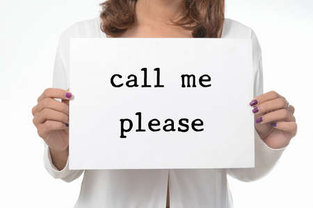 workless: Your girl holds a cardboard sign. please call me. Stock Photo