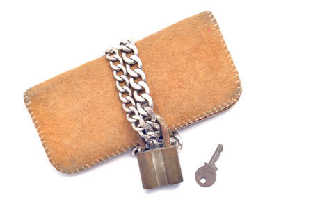 spendthrift: wallet and lock isolated on white background Stock Photo