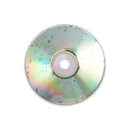 data loss: Data loss due to molder on badly damaged CD DVD Stock Photo