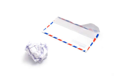 wastrel: crumpled paper ball and envelope