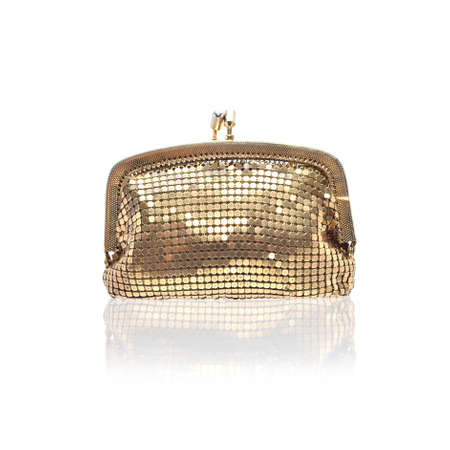 coin purse: Golden coin purse isolated on white
