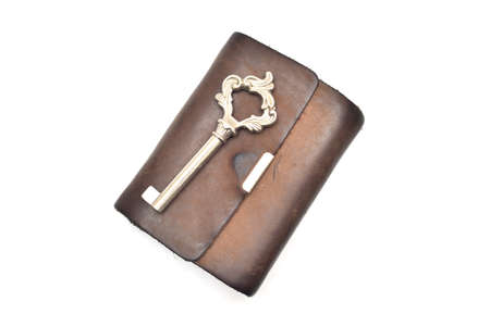 spendthrift: wallet and key isolated on white background