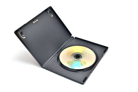 rewrite: Black box with writable DVD disc inside isolated on white background.