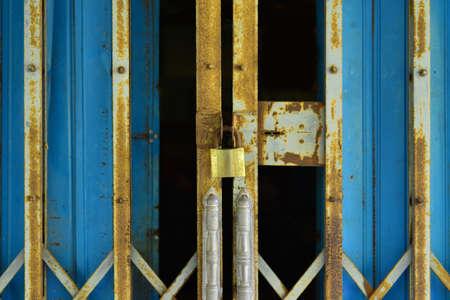 steel door: closed door , The old Rusty steel door