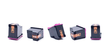 Ink Cartridges on White Background