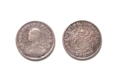 plating: isolated of 1962 old Thai coin on white background