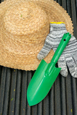 Image Of Gardening Hat With Shovel And Gloves Stock Photo, Picture ...