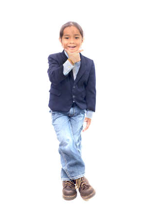 portrait of a smile boy in suit; isolated on the white background Stock Photo