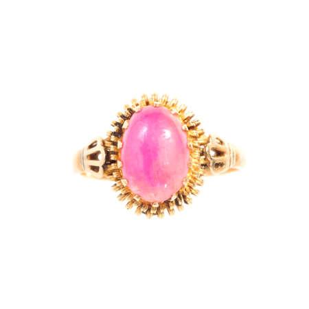 Pink ruby on gold ring , Traditional production Reklamní fotografie