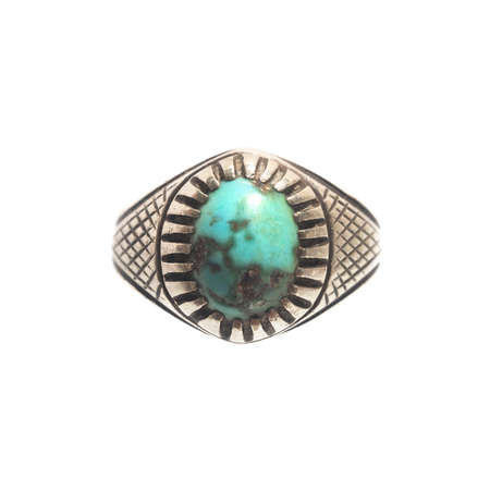 silver background: Turquoise Silver ring isolate on white background.