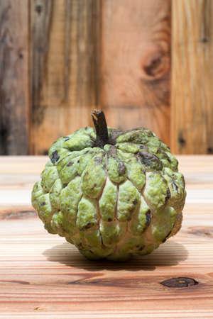 Custard apple on wood background , sweetsop
