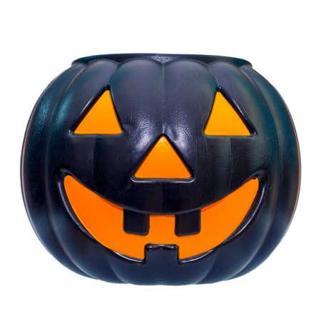 Halloween pumpkin grinning isolated on white Stock Photo