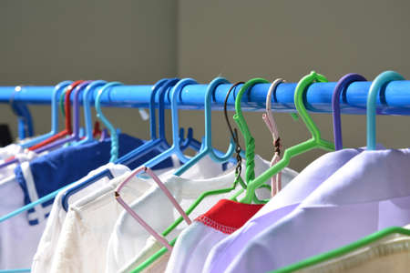 Drying cloth and swaddle on hanger in the afternoon