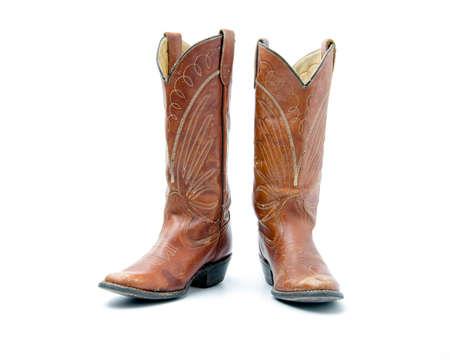 Botas de vaquero de cuero natural.