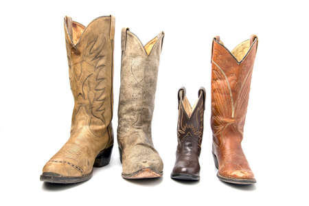 Different types of cowboy boots. concept of family
