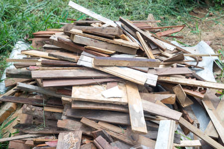 Pile of old wood chips , scrap wood - for Background Imagens