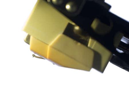 Close up phono cartridge of vintage vinyl turntable. Stock Photo