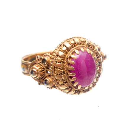Pink ruby on gold ring , Traditional production Reklamní fotografie