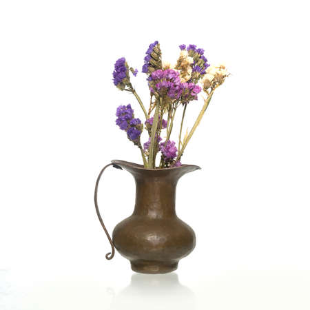 Brass vase with dry flowers isolated on white background Banco de Imagens
