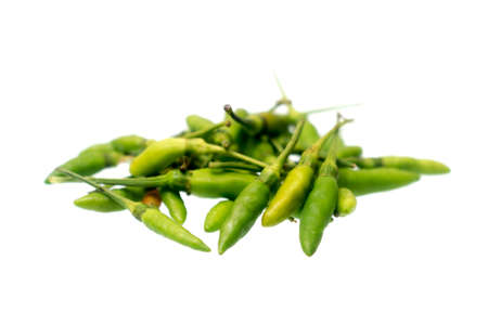 Green hot chilli peppers isolated on a white background , spicy concept , Capsicum annuum , Thai pepper