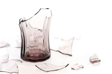 Broken glass on white background.