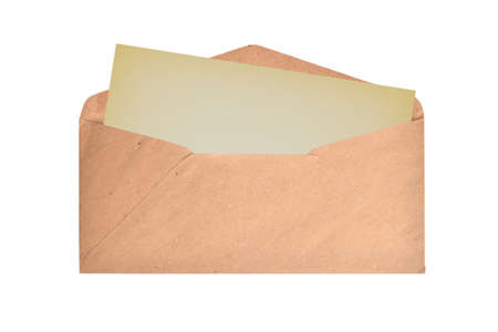 Brown envelope with blank card on a white background. Flat lay.