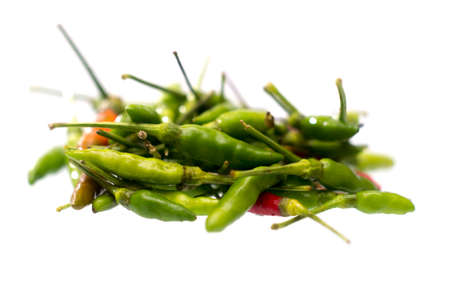 Green hot chilli peppers isolated on a white background, spicy concept, Thai pepper