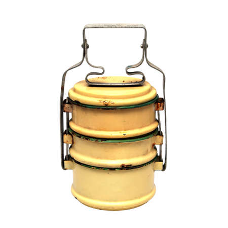 Yellow Enamel Tiffin Carrier, Thai traditional lunch box, Vintage Enamelware.